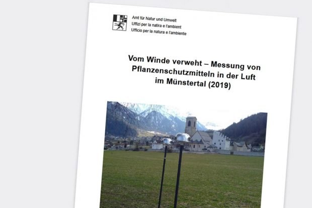 """Die Studie """"Messung von Pflanzenschutzmitteln in der Luft im Münstertal (2019)"""". Cover: Amt für Natur und Umwelt Graubünden"""