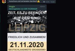 """Aufruf für den 21. November 2020 in der Leipziger """"Querdenken""""-Gruppe. Screen Telegram"""