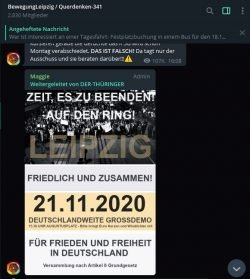 "Aufruf für den 21. November 2020 in der Leipziger ""Querdenken""-Gruppe. Screen Telegram"