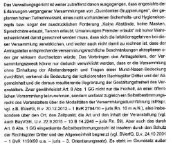 """Aus dem Urteil des Bayrischen Verwaltungsgerichtshof: """"kollidierende Rechtsgüter"""". Screen Telegram"""