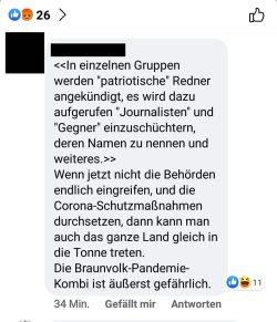"""Wenig Verständnis für die Zurückhaltung gegenüber den """"Querdenkern"""". Foto: Screenshot FB"""