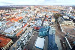 Blick über Leipzig, im Vordergrund der Campus Augustusplatz der Universität. Foto: Swen Reichhold