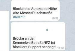 Blockaden in Leipzig. Screen
