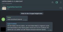 """""""Friedlich und unter freiem Himmel"""" oder """"jeder bringt ein Rundholz gegen die Polizei mit"""" - die ersten Gewaltphantasien bei den """"Querdenkern"""" im Leipzig-Demo-Chat am 19.11.2020. Foto: Screen Telegram"""