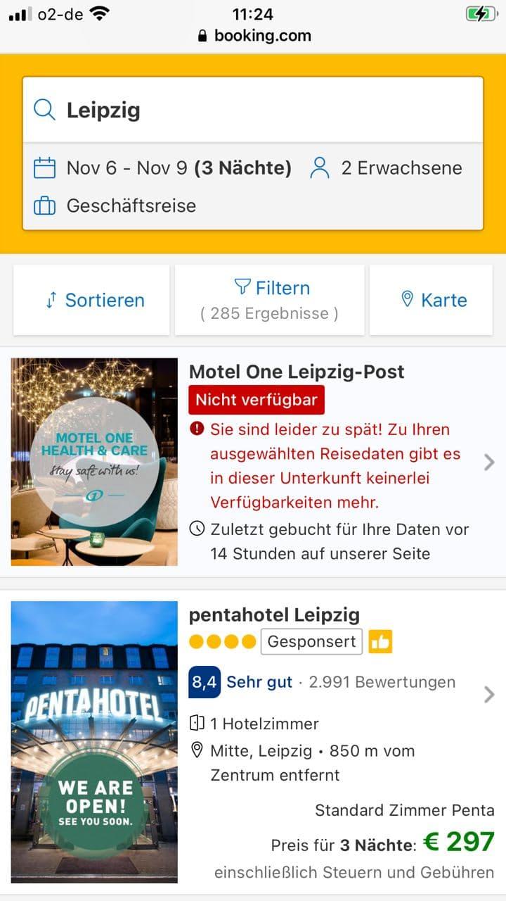 Am heutigen Montag gabs bei Booking.com keine Zimmer im Motel One Post mehr. Screen Booking.con, eigene Anfrage