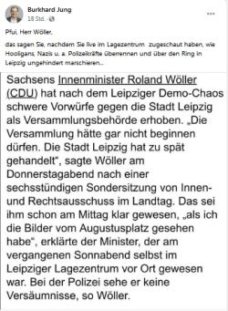 Keine Freunde mehr ... Burkhard Jung auf Facebook zu Wöllers Schuldzuweisung. Foto: Screenshot