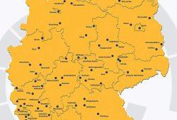 Die ausgewählten Orte, aus denen Teilnehmer/-innen für den Bürgerrat ausgelost werden. Grafik: Mehr Demokratie e.V.