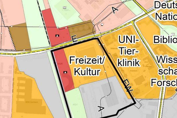 Die Flächennutzung im Plangebiet am Kohlrabizirkus. Karte: Stadt Leipzig