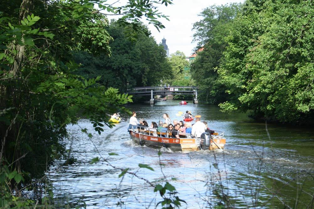 Bootsbetrieb auf Weißer Elster und Elstermühlgraben. Foto: Ralf Julke