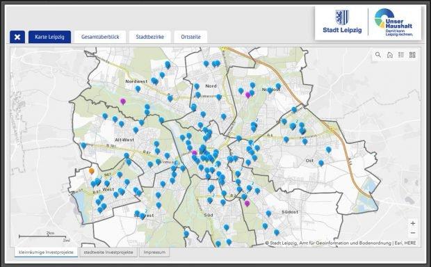 Karte mit den Investitionsprojekten 2021 / 2022. Screenshot: L-IZ
