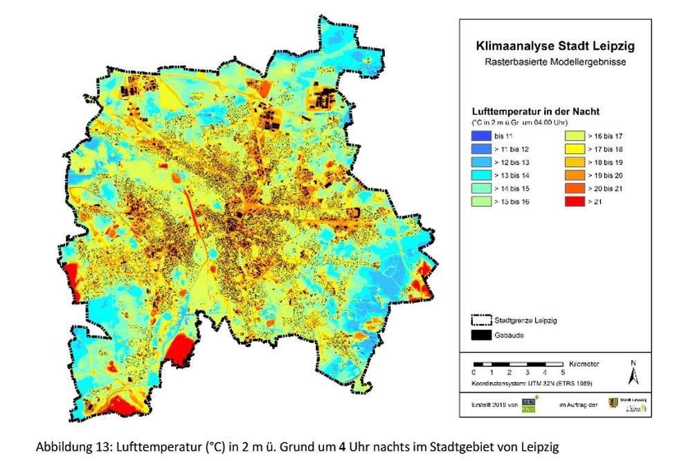 Temperaturen im Stadtgebiet in einer normalen Sommernacht. Karte: Stadt Leipzig, Stadtklimaanalyse