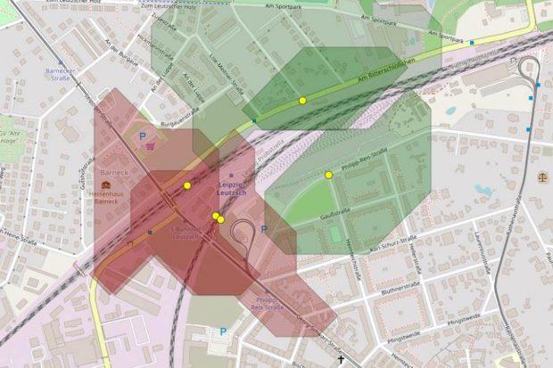 Mögliche Fußgängerpotenziale für eine östlich gelegene Fußgänger-/Radfahrerbrücke. Grafik: Per Kropp