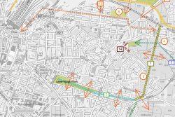 """Verlauf des Bahnbogens Ost. Jetzt geht es um den mit """"1"""" gekenzeichneten Abschnitt auf dem Sellerhäuser Viadukt. Karte: Stadt Leipzig"""