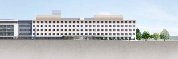 Eine Visualisierung des Neubaus. Grafik: WTR/Klinikum St. Georg