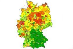 Überschuldungsquoten nach Kreisen und Kreisfreien Städten. Grafik: Creditreform