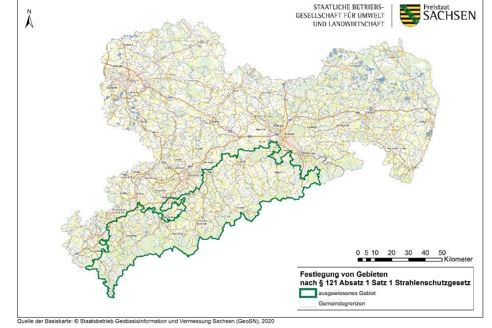 Karte der festgelegten Radonvorsorgegebiete in Sachsen © BfUL, Basiskarte GeoSN