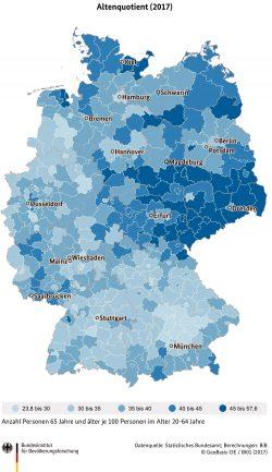 Die Altersquotienten auf Kreisebene in Deutschand im Jahr 2017. Quelle: Statistisches Bundesamt