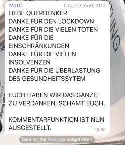"""Ein Abschiedsgruß vom Admin der Fake-Gruppe """"Leipzig 1912 Chat"""". Screen Telegram"""
