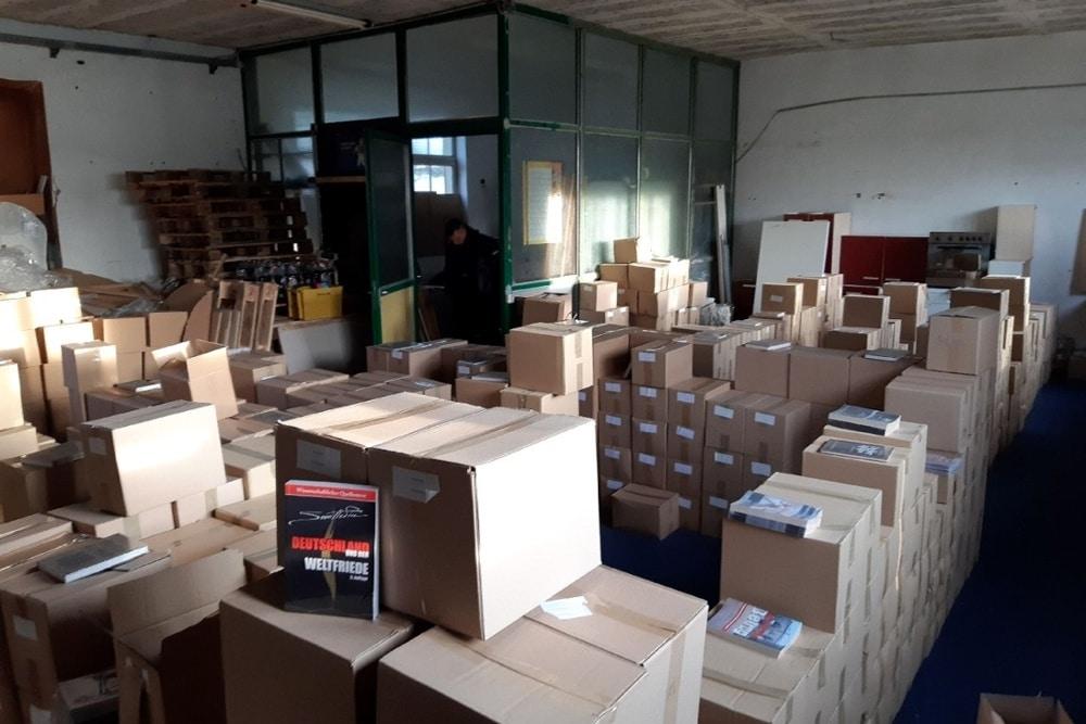 Die durchsuchte Lagerhalle im Landkreis Leipzig im Rahmen der Razzia des LKA Sachsen am 17. Dezember 2020. Foto: LKA Sachsen