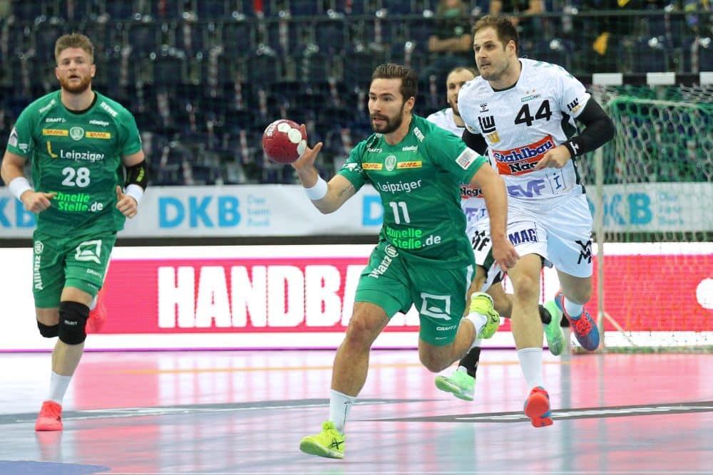Lukas Binder im Spiel gegen Göppingen, nur wenige Tage vor Bekanntwerden des ersten Coronafalles bei den SC DHfK-Handballern. Foto: Jan Kaefer