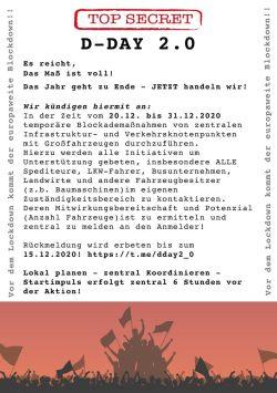 Blockadeaufruf von Markus L. und weiteren, der seit tagen bei Telegram verteilt wird. Screen Telegram