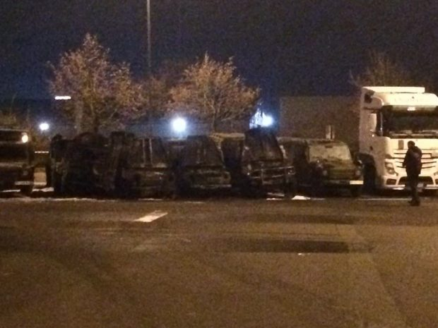 Die Bundeswehrfahrzeuge nach dem Brand. Foto: L-IZ.de