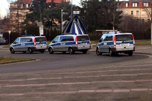 Polizei in Markkleeberg - ein Faketreffpunkt. Foto: L-IZ.de