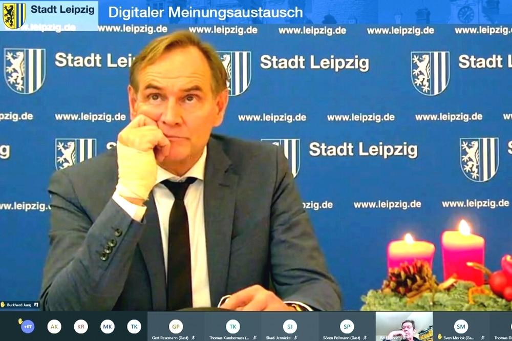 Digitaler Meinungsaustausch mit Burkhard Jung. Screenshot: L-IZ.de