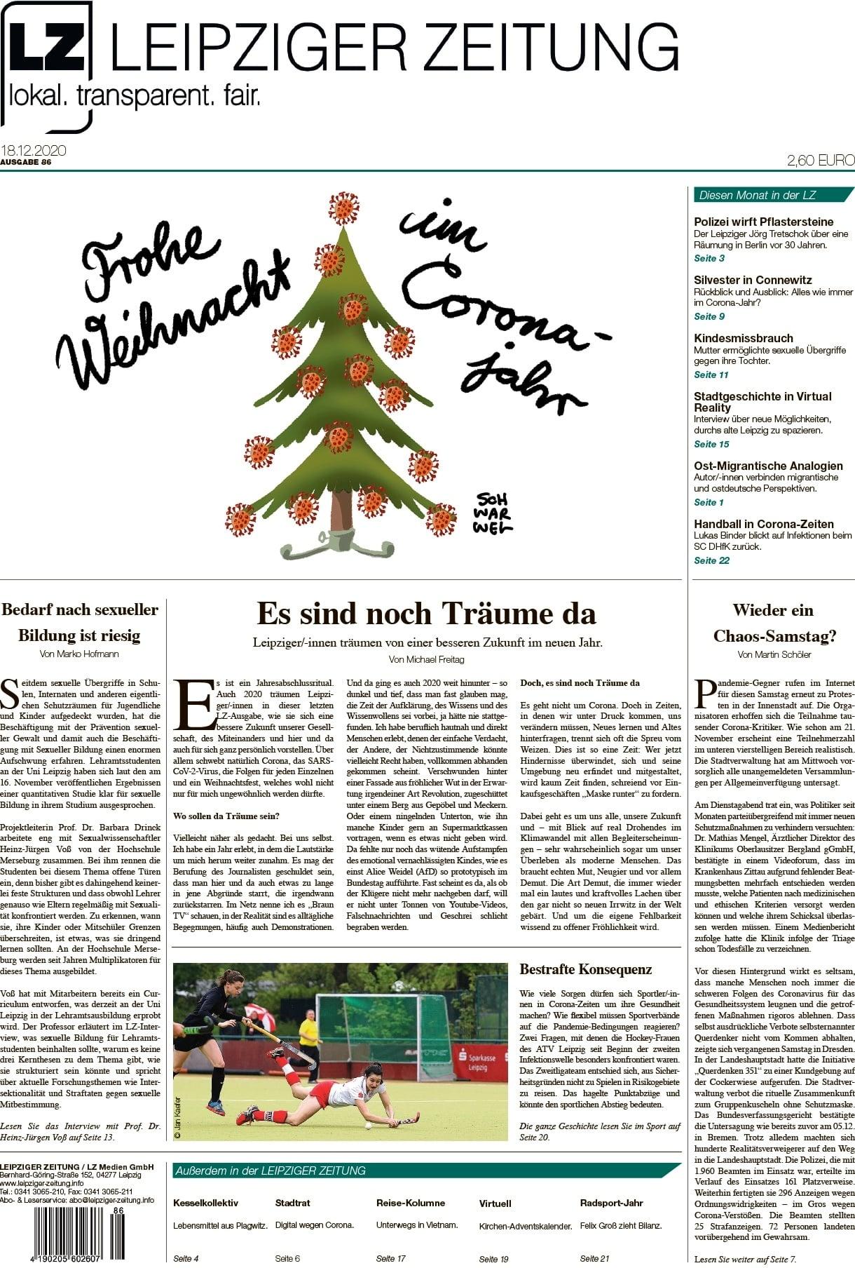 Titelblatt der Dezemberausgabe der LEIPZIGER ZEITUNG 2020