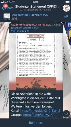 """Verteilung des Aufrufes bei """"Studentenstehenauf"""" Deutschland. Screen Telegram"""