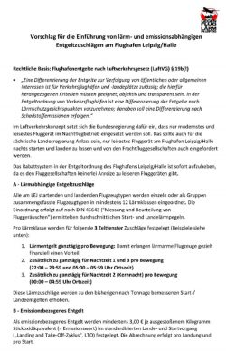 Der Vorschlag der Bürgerinitiative für eine neue Entgeltordnung am Flughafen Leipzig / Halle.