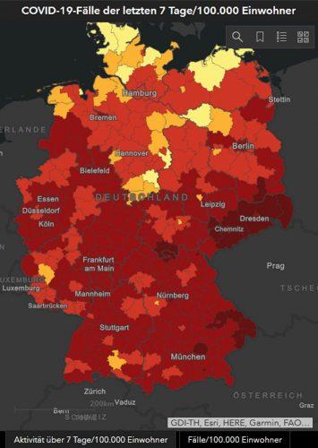 COVID-19-Fälle auf 100.000 Einwohner in den vergangenen sieben Tag, Stand 3. 12. 2020. Karte: Robert-Koch-Institut