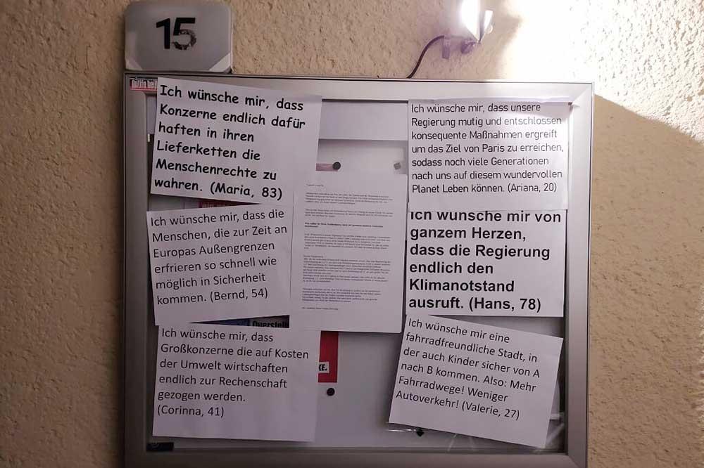 Klimawünsche an einem Abgeordnetenbüro der Linkspartei. Foto: Extinction Rebellion Leipzig