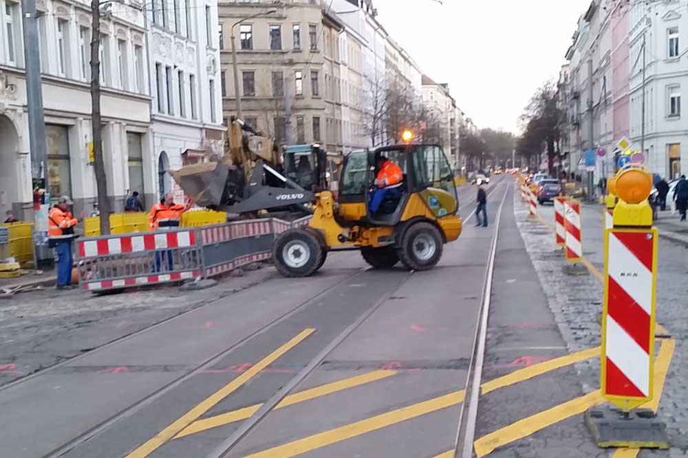 Gleisbauarbeiten - hier 2015 in der Könneritzstraße. Foto: Marko Hofmann