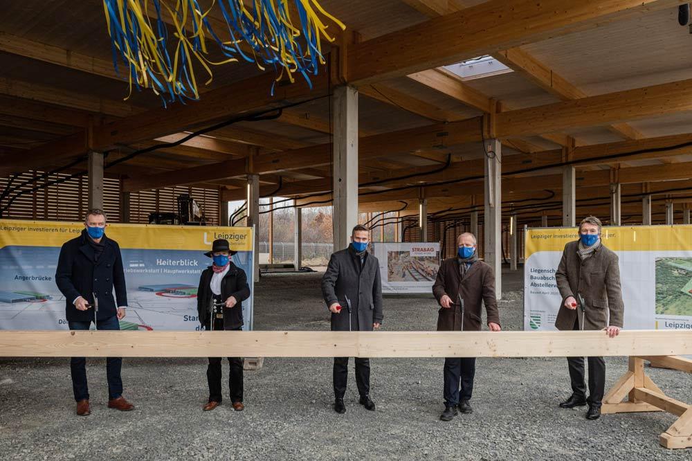 Richtfest für die Abstellhalle im Technischen Zentrum Heiterblick. Foto: Leipziger Gruppe