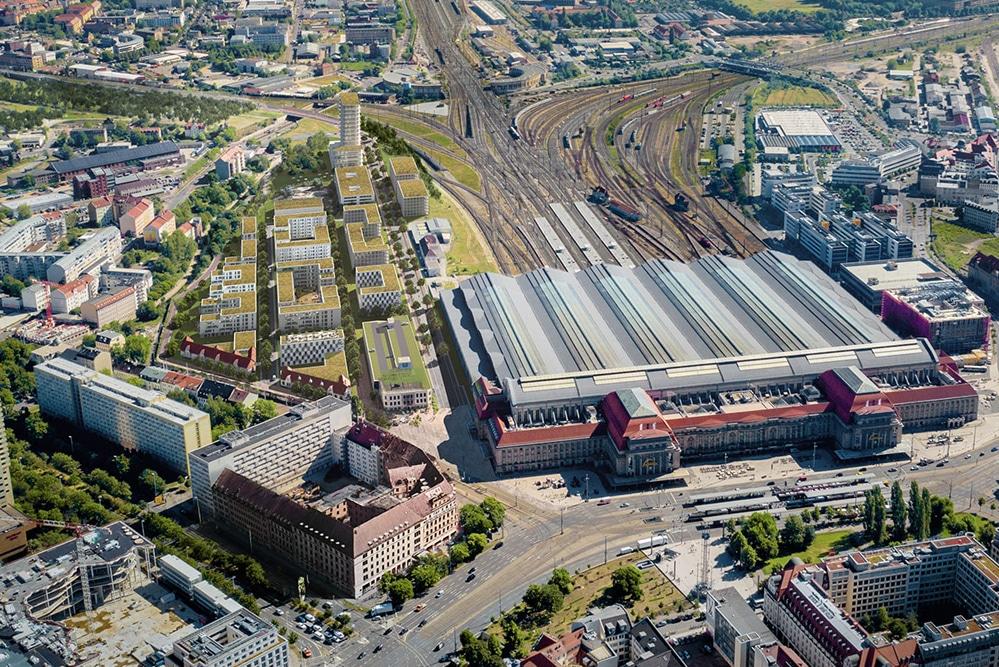 Das geplante Löwitz-Quartier am Hauptbahnhof. Visualisierung: bloomimages/freiland, Hamburg