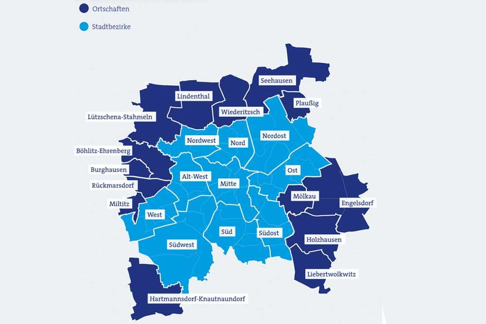 Die Leipziger Ortschaften und die zehn Leipziger Stadtbezirke. Grafik: Stadt Leipzig