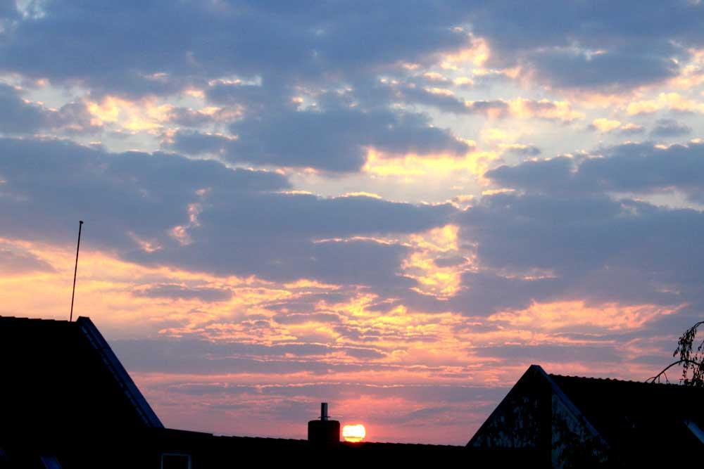 Pünktlich wie immer: die Sonne am Horizont. Foto: Ralf Julke