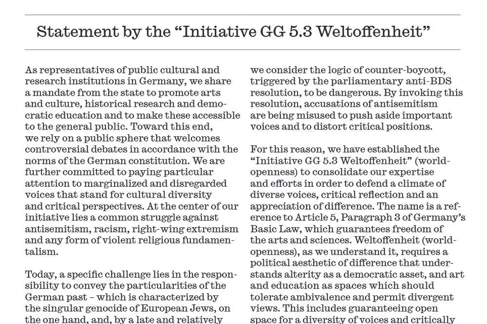 """Das Plädoyer der """"Initiative GG 5.3 Weltoffenheit"""" auf englisch."""