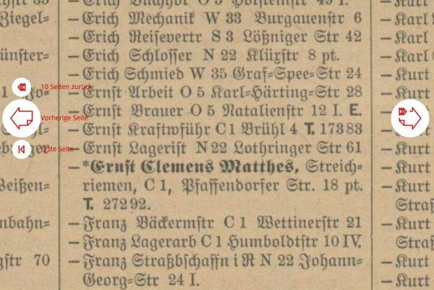 """Der Eintrag im Leipziger Adressbuch von 1942:""""Ernst Clemens Matthes, Streichriemen, Pfaffendorfer Straße 18"""". Quelle: SLUB, Historische Adressbücher"""