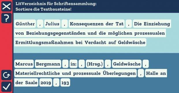 In Übungsaufgaben geht es auch um ein korrektes Literaturverzeichnis. Foto: MLU / Screenshot