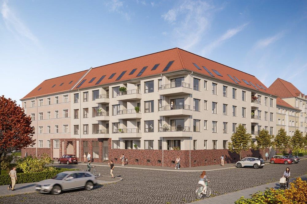 An der Ecke Kohlweg / Heinrich-Schmidt-Straße entsteht bis 2023 ein neues Wohnhaus: Vonovia schafft in Leipzig 40 Sozialwohnungen und stellt eine historische Gewerbefläche wieder her. Foto: Vonovia SE