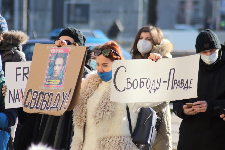 Die Free-Nawalny-Kundgebung am 31. Januar 2021 auf dem Leipziger Augustusplatz. Foto: Michael Freitag
