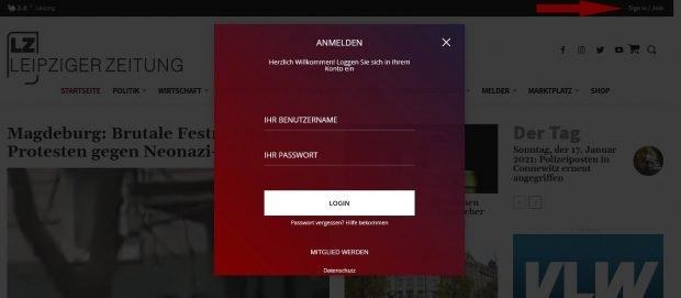 Die neue Anmeldung & Registrierung. Screen LZ