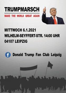 """So ein Bastelbild ist schnell gemacht. Aufruf zum Trumpmarsch in Leipzig mit """"Q-Anon""""-Anleihe. Quelle: Telegram/ Bewegung Leipzig"""