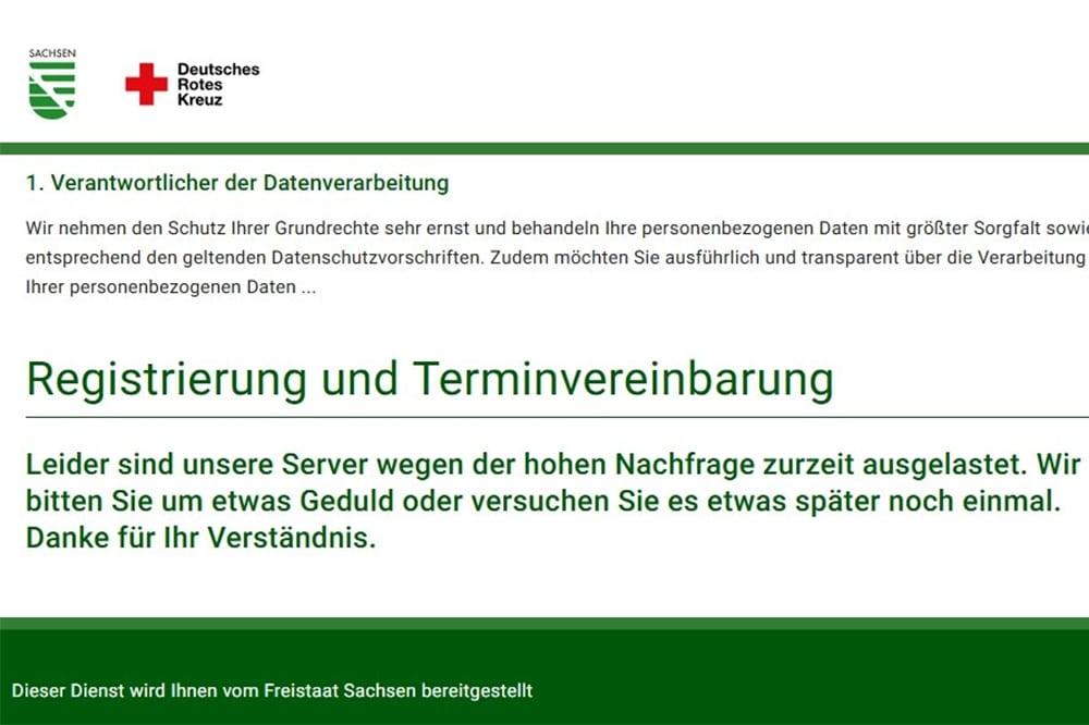In Sachsen startete heute die Impfkampagne. Bereits vor Online-Start war der Server zur Terminvergabe überlastet. Foto: Screenshot sachsen.impfterminvergabe.de/