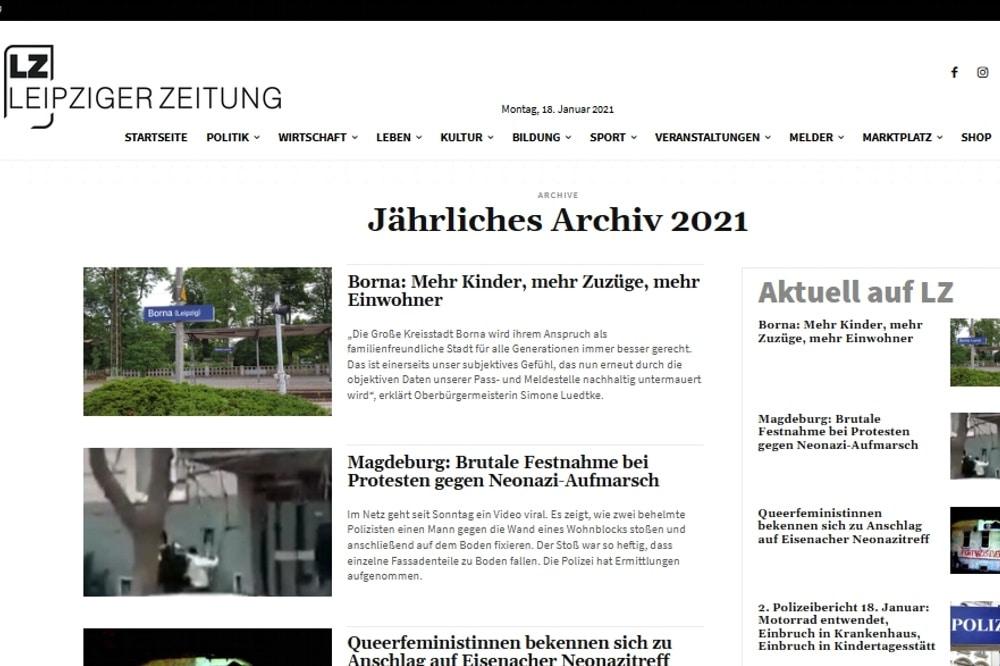 Jahresansichten auf L-IZ.de. Screen LZ