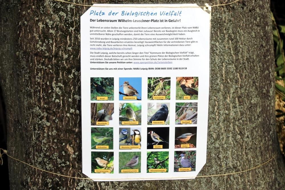 Der Leuschnerplatz 2020 und seine Vogelarten. Foto: LZ