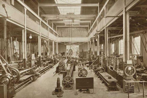 WerkStatt Leipzig: Dreherei für Wellen der Bleichert-Werke. Foto: Stadtgeschichtliches Museum Leipzig