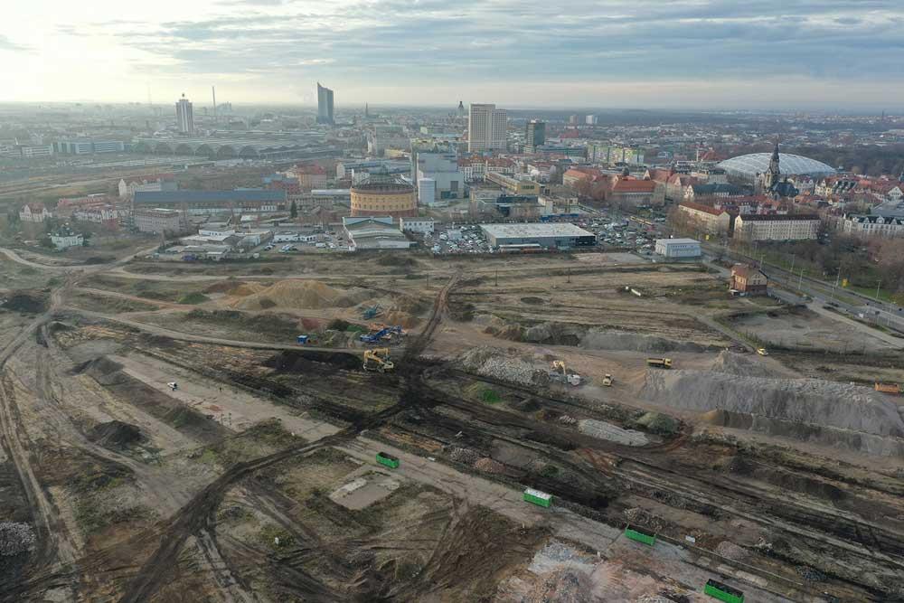 """Unter dem Namen """"Leipzig 416"""" soll hier das größte innerstädtische Stadtquartier Leipzigs entstehen. Foto: InOneMedia"""
